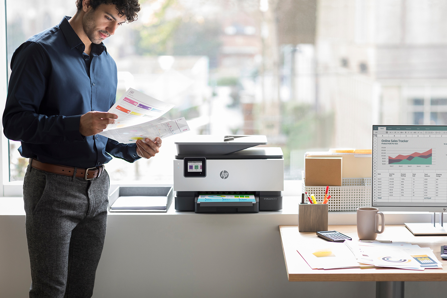 Workplace with HP Printer